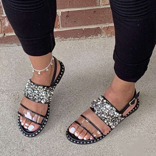 Buckle Open Toe Flat With Serpentine Sandals