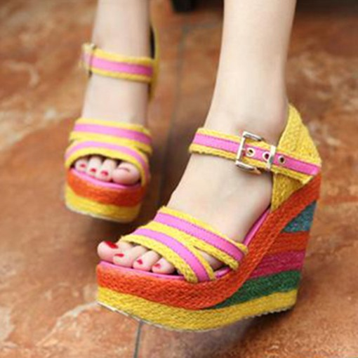 Buckle Open Toe Wedge Heel Color Block Sandals