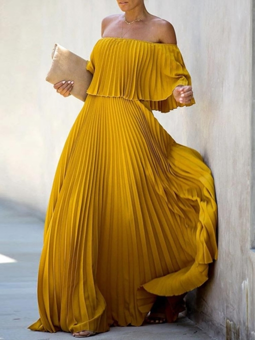 Off Shoulder Pleated Three-Quarter Sleeve Floor-Length Summer Women's Dress
