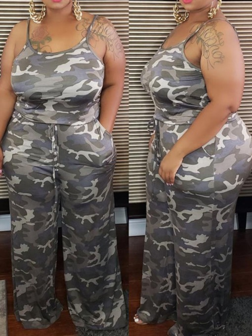 Plus Size Camouflage Vest Simple Pocket Pullover Women's Two Piece Sets