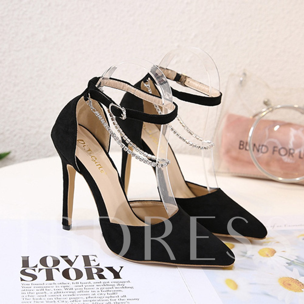 Stiletto Heel Buckle Pointed Toe Plain Sandals