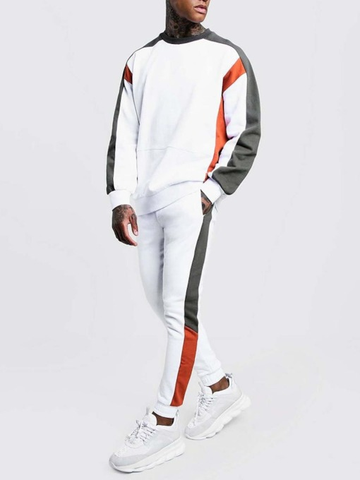 Color Block Hoodie Patchwork Casual Fall Men's Outfit