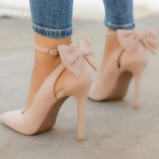 Stiletto Heel Bow Buckle Pointed Toe Plain Thin Shoes
