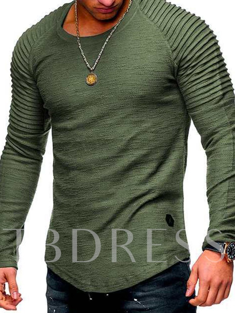 Pleated Plain Casual Round Neck Pullover Men's T-shirt