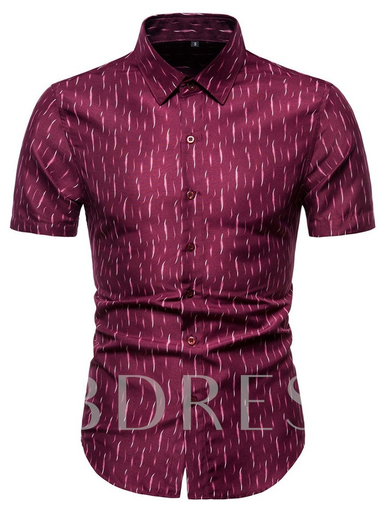Lapel European Print Slim Men's Shirt