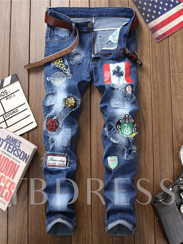 Appliques Straight European Men's Jeans