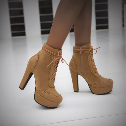 Patchwork Closed Toe Lace-Up Front Stiletto Heel Lace-Up Boots