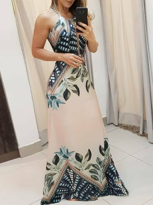 Print Sleeveless Floor-Length Plant Women's Dress