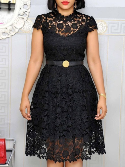 Knee-Length Stand Collar Lace Short Sleeve Sweet Women's Dress
