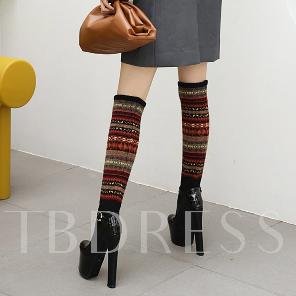 Closed Toe Hasp Stripe Buckle Boots