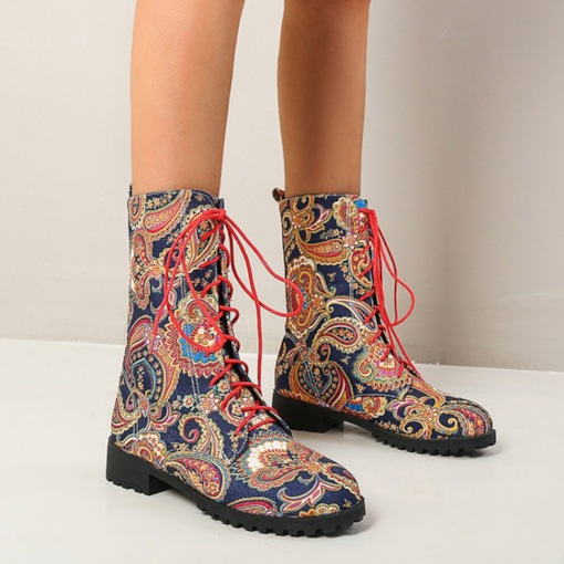 Fashion Color Block Front Round Toe Block Heel Cross Strap Boots
