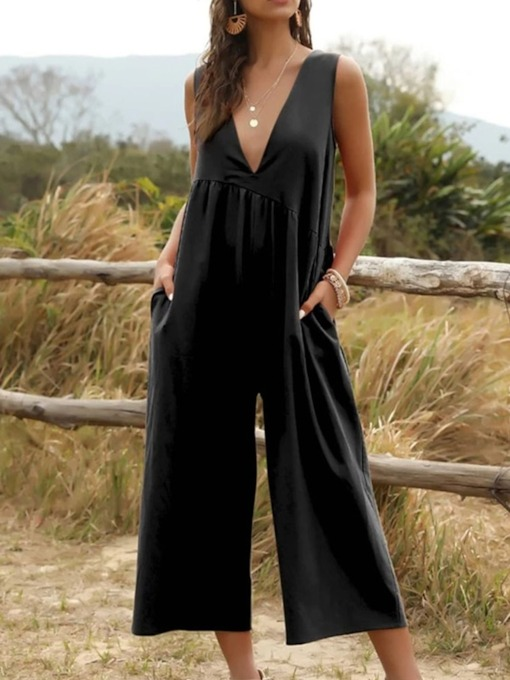 Plain Pocket Ankle Length Casual Skinny Women's Jumpsuit