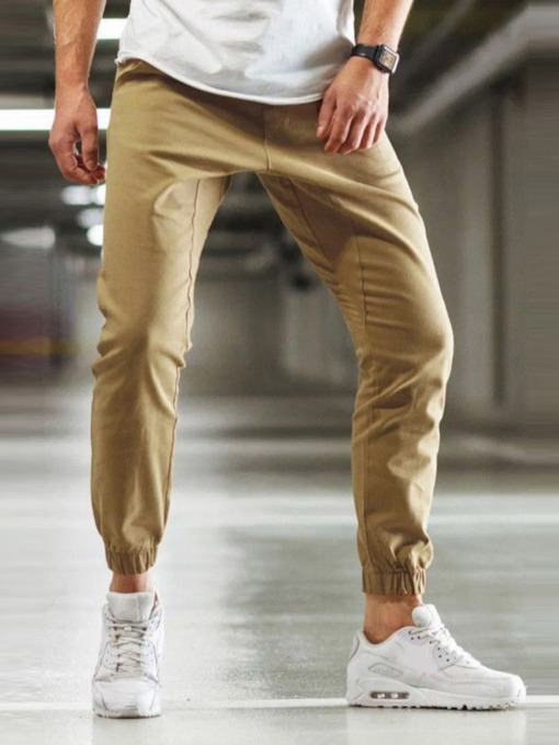 Summer Plain Cotton Mid Waist Men's Casual Pants
