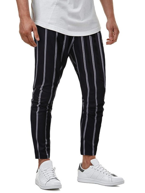 Summer Stripe Pencil Pants Korean Men's Casual Pants