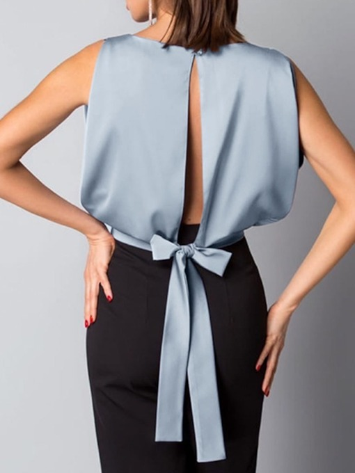Backless Plain Standard Female's Blouse