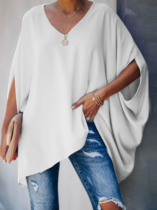 Long Sleeve Plain Mid-Length Loose Women's T-Shirt