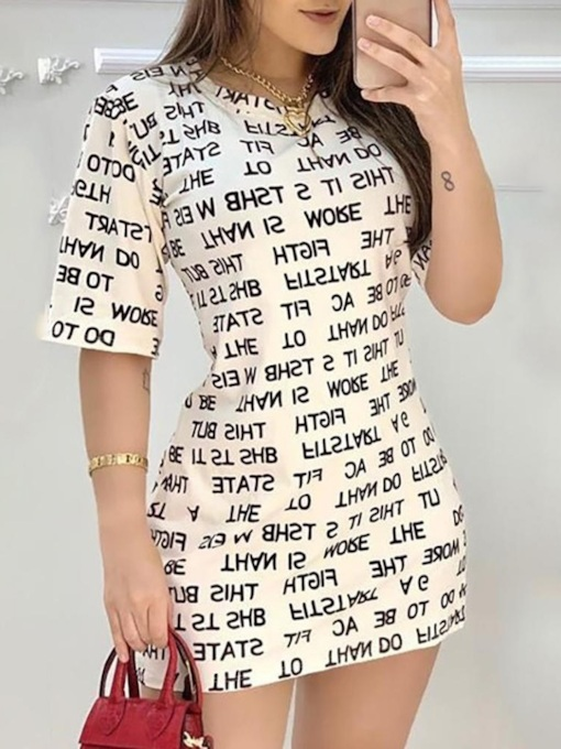 Above Knee Round Neck Half Sleeve Print Date Night/Going Out Women's Dress