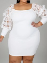 Long Sleeve See-Through Square Neck Above Knee Bodycon Women's Dress