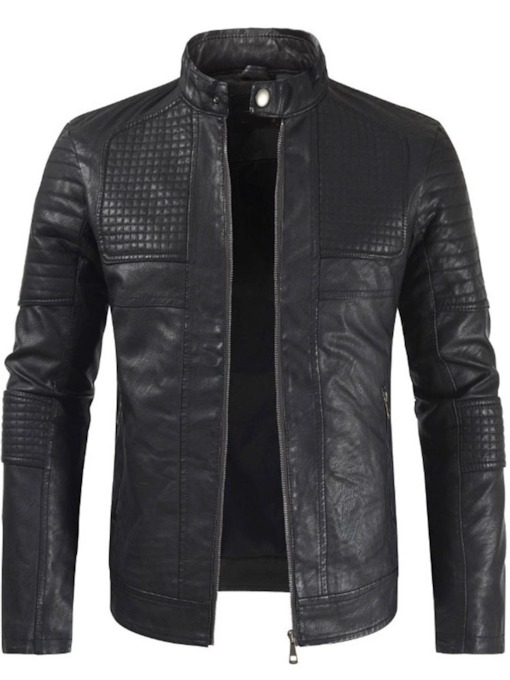 Stand Collar Plain Standard Fall Men's Leather Jacket