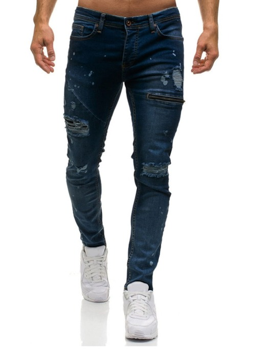 Zipper Plain Zipper Men's Jeans