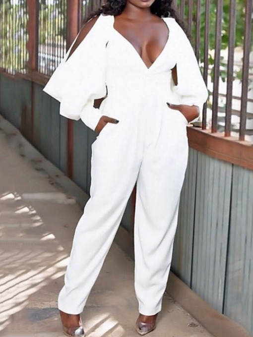 Sexy Pocket Plain Full Length Loose Women's Jumpsuit