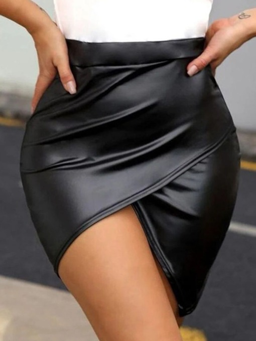 Asymmetric Plain Bodycon Mini Skirt Fashion Women's Skirt