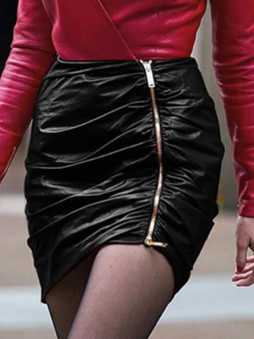 Zipper Bodycon Plain Mini Skirt Sexy Women's Skirt