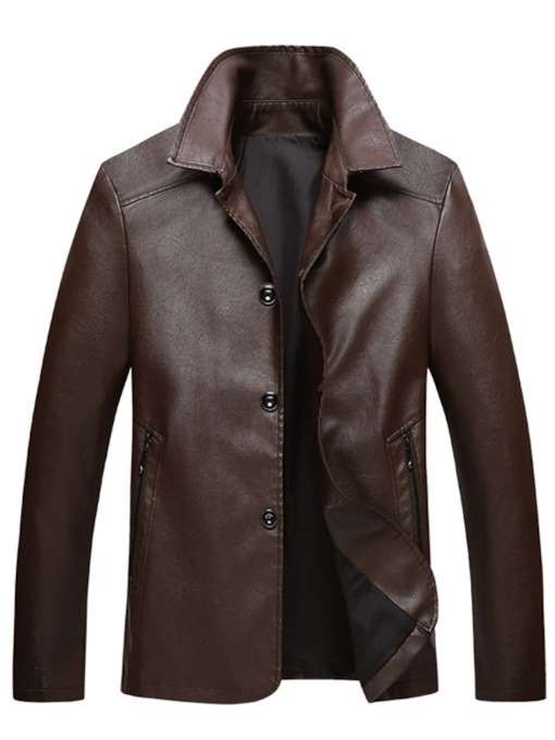 Lapel Plain Standard Slim Men's Leather Jacket