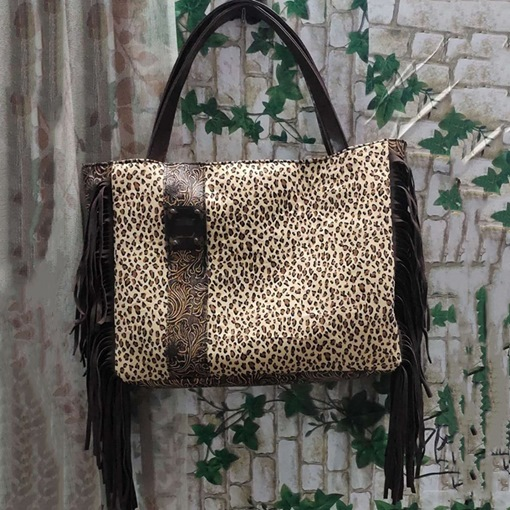 Leopard Thread Canvas Rectangle Tote Bags
