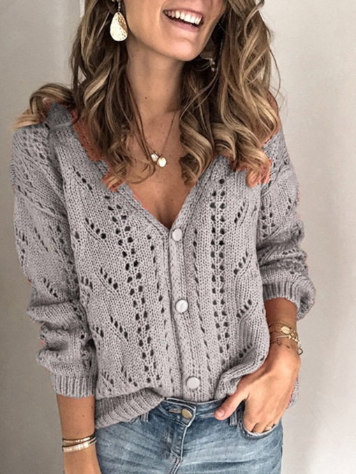 Thin Regular Single-Breasted Button Long Sleeve Women's Sweater