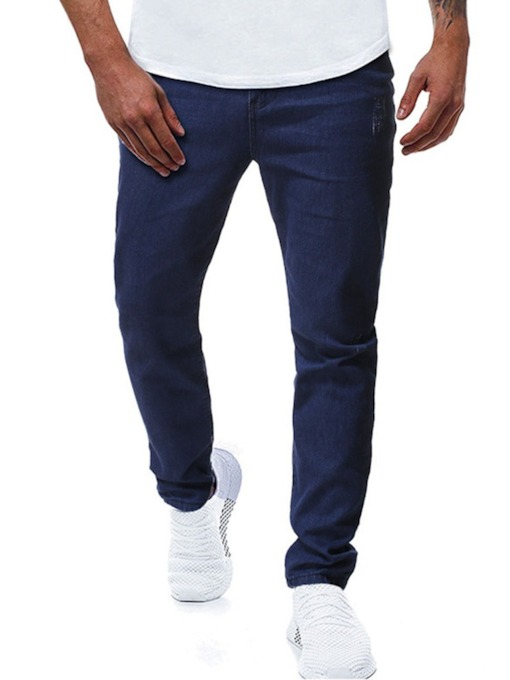 Plain Zipper Men's Jeans