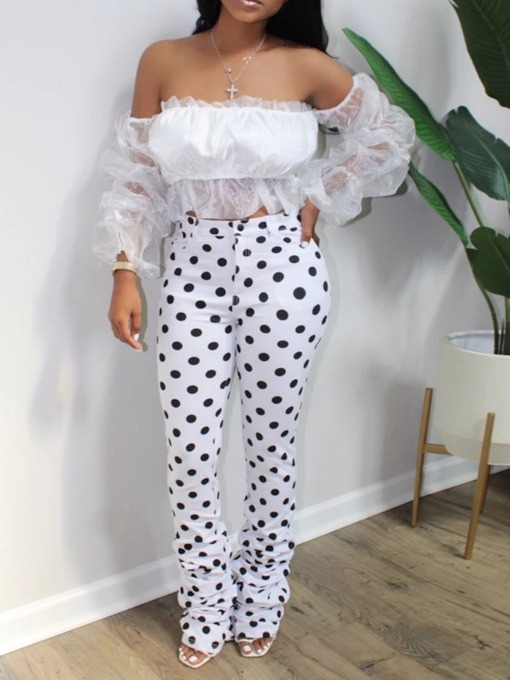 Polka Dots Pants Sexy Mesh Bellbottoms Women's Two Piece Sets