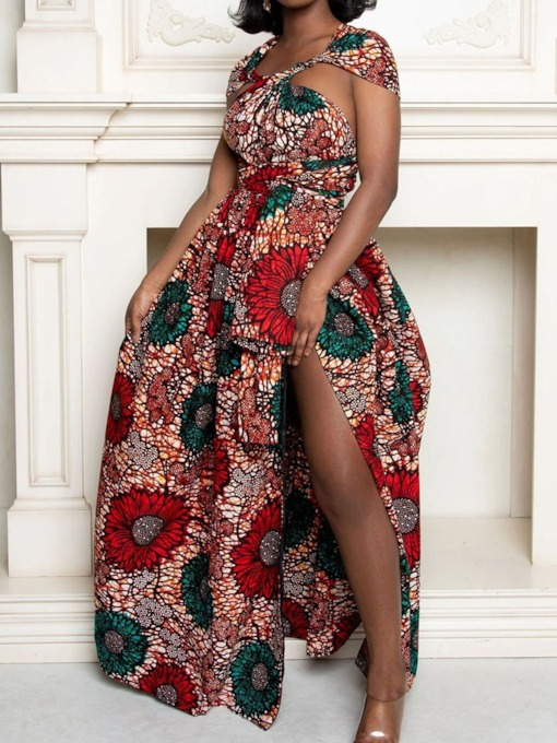 Print Floor-Length Sleeveless Floral Women's Dress