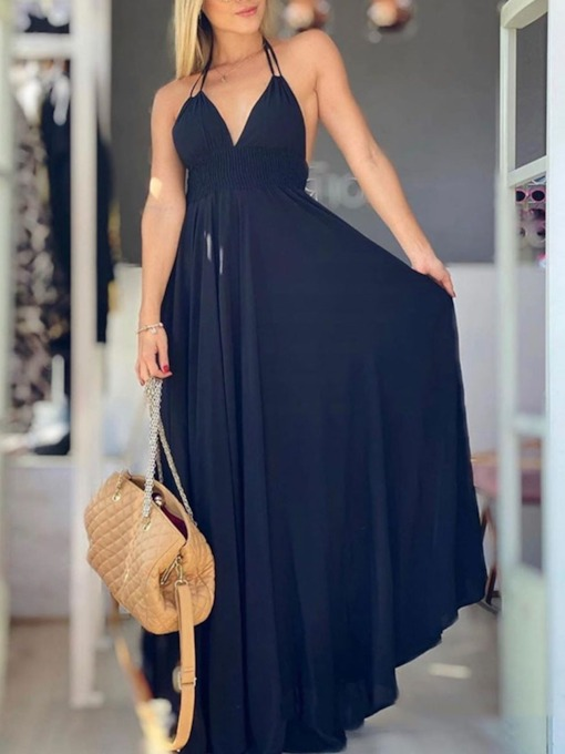 Sleeveless V-Neck Lace-Up Floor-Length A-Line Women's Dress