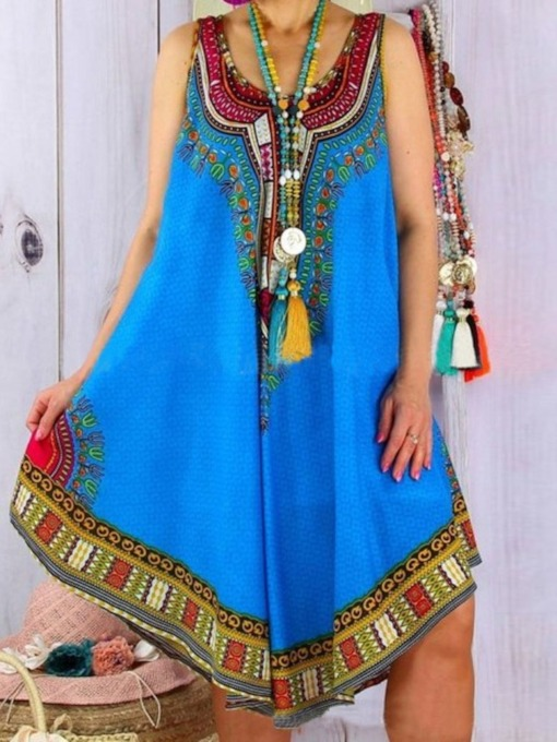 Sleeveless Mid-Calf Scoop Print High Waist Women's Dress
