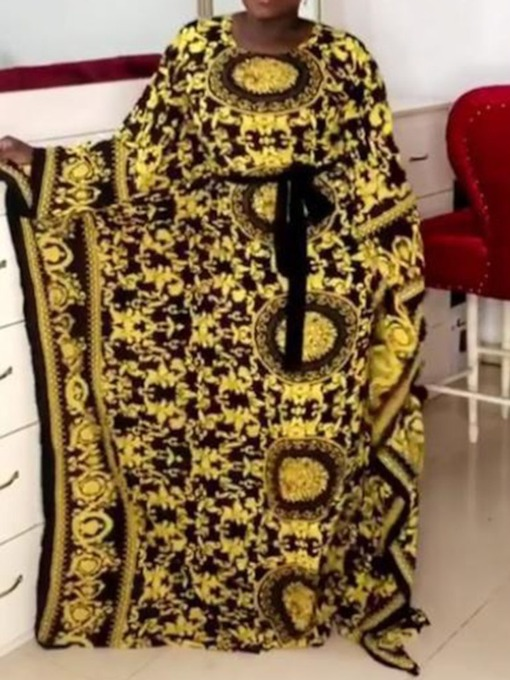 Floor-Length Print Long Sleeve Round Neck Pullover Women's Dress