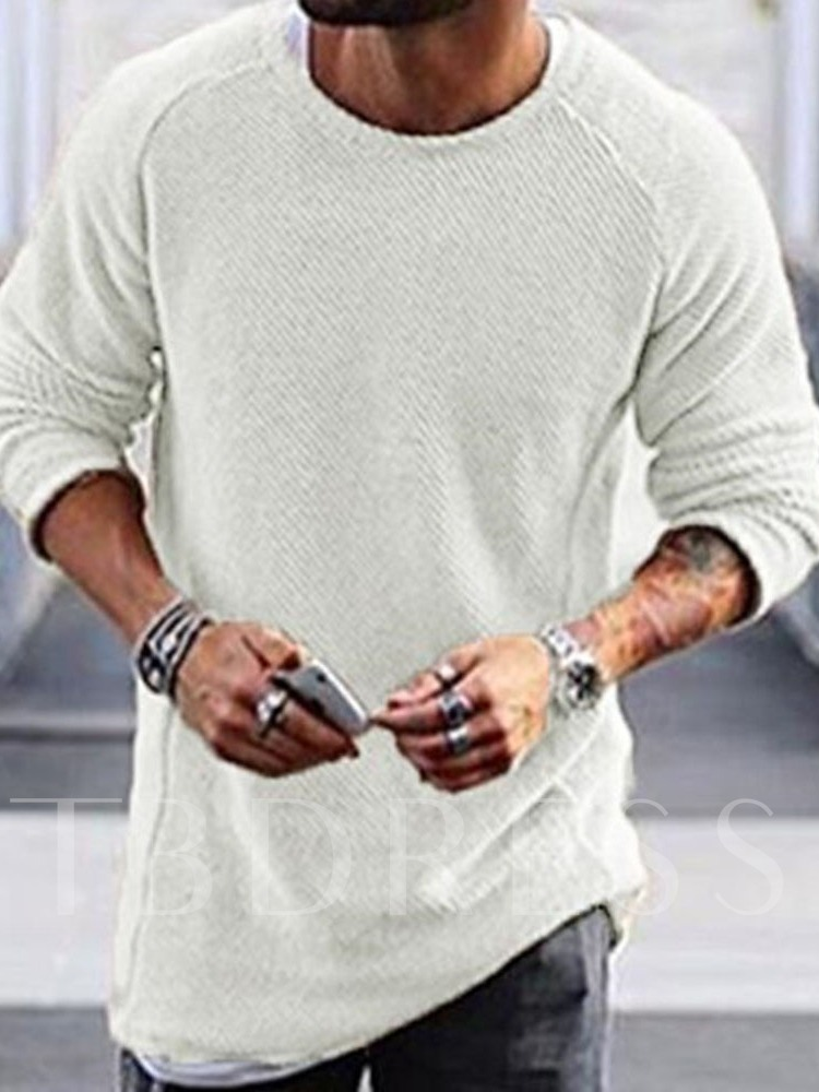 Mid-Length Round Neck Plain Loose Men's Sweater