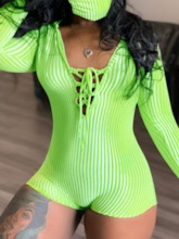 Lace-Up Plain Shorts Simple Skinny Women's Rompers