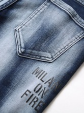 Letter Worn Casual Men's Jeans