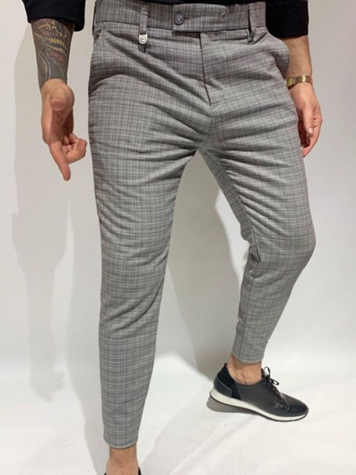 Plaid Pencil Pants Casual Men's Casual Pants
