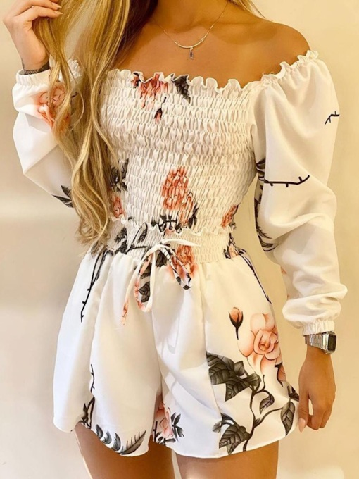 Pleated Sexy Floral Shirt Pullover Women's Two Piece Sets