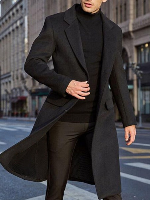 Notched Lapel Mid-Length Plain Single-Breasted Men's Coat