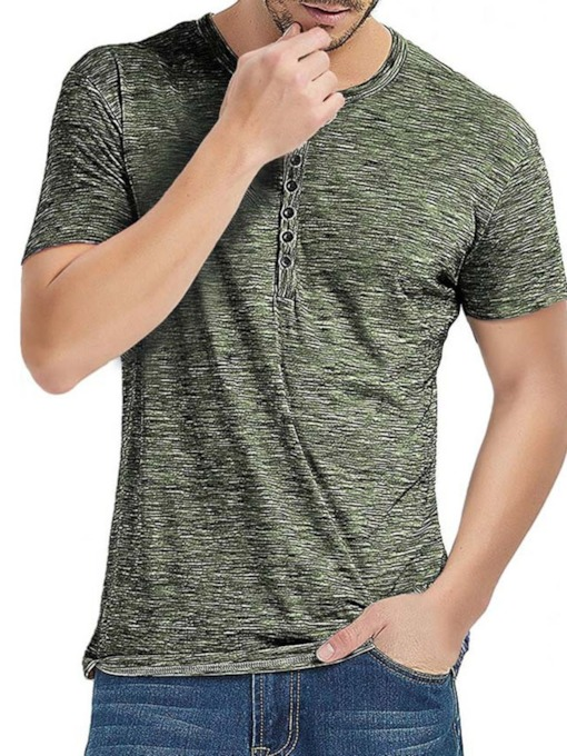 Casual Round Neck Pullover Men's T-shirt