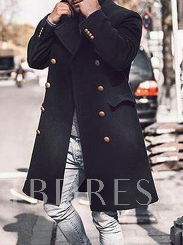 Mid-Length Plain Winter Men's Coat