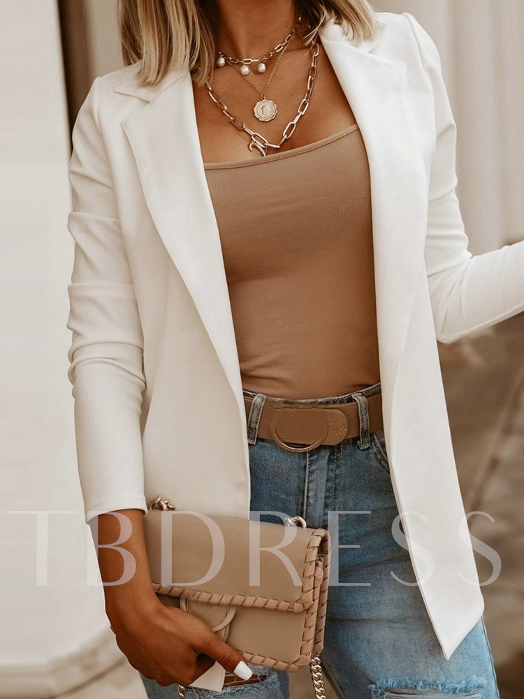 Long Sleeve Notched Lapel Plain Mid-Length Women's Casual Blazer