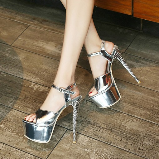 Stiletto Heel Buckle Open Toe Sweet Plain Sandals