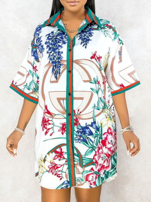Print Three-Quarter Sleeve Above Knee Lapel Vintage Women's Dress
