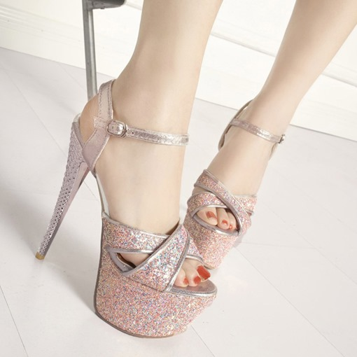 Open Toe Buckle Stiletto Heel Sweet Sandals