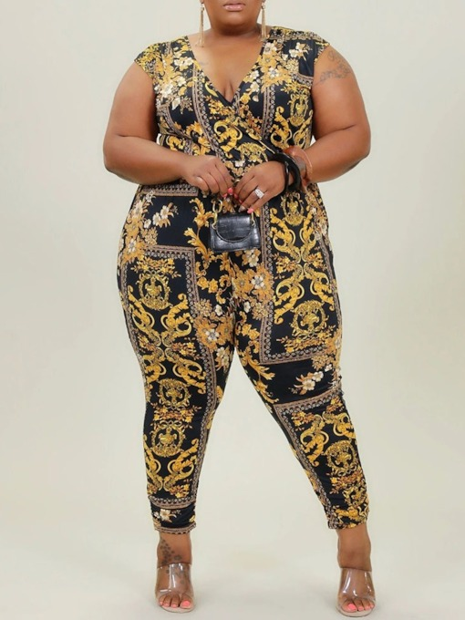Plus Size Print Floral Ankle Length Slim Women's Jumpsuit