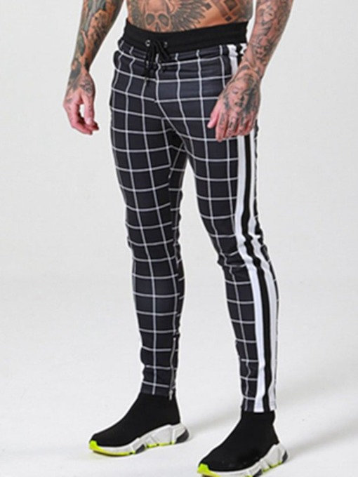 Plaid Patchwork Pencil Pants Casual Men's Casual Pants